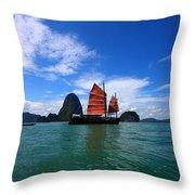 Junk Boat Throw Pillow