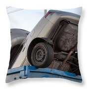 Junk Cars In Dumpster Cash For Clunkers Throw Pillow