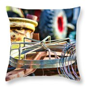 Junk Collage Throw Pillow