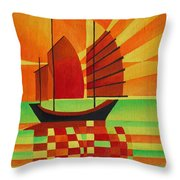 Junk On A Sea Of Green Throw Pillow by Tracey Harrington-Simpson