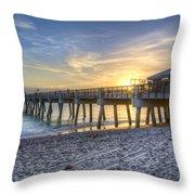 Juno Beach Pier At Dawn Throw Pillow