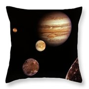 Jupiter And The Moons Throw Pillow