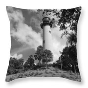 Jupiter Inler Lighthouse In Black And White Throw Pillow