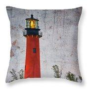 Jupiter Lighthouse Throw Pillow by Debra and Dave Vanderlaan