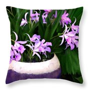 Just A Bowl Of Cattleyas Throw Pillow