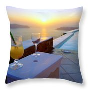 Just Before Sunset In Santorini Throw Pillow