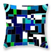 Just Colors And Lines Blue Throw Pillow