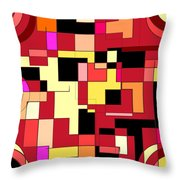 Just Colors And Lines Red Throw Pillow
