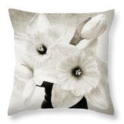 Just Plain Daffy 1 B W - Flora - Spring - Daffodil - Narcissus - Jonquil Throw Pillow