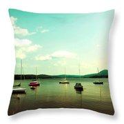Just Sail Boats Throw Pillow