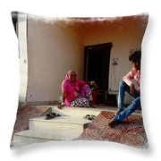 Just Sitting 3 - Family Portrait - Indian Village Rajasthani Throw Pillow