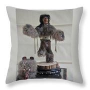 Kachina Doll Bear Head Removed Throw Pillow