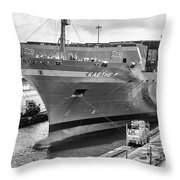 Kaethe P Container Ship Panama Canal Monochrome Throw Pillow
