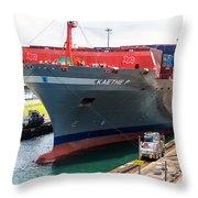 Kaethe P Container Ship Panama Canal Throw Pillow