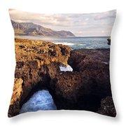 Ka'ena Point Natural Bridge Throw Pillow