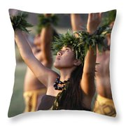 Kahiko Hula Dancers Throw Pillow