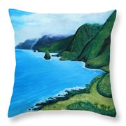Kalaupapa Peninsula Throw Pillow