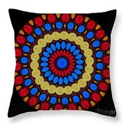 Kaleidoscope Of Colorful Embroidery Throw Pillow