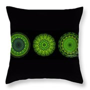 Kaleidoscope Triptych Of Glowing Circuit Boards Throw Pillow