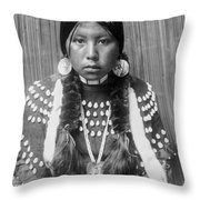 Kalispel Indian Woman Circa 1910 Throw Pillow by Aged Pixel
