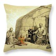 Kalmuks With A Prayer Wheel, Siberia Throw Pillow