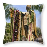 Kamehameha Covered In Leis Throw Pillow by Brandon Tabiolo
