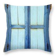 Kampot Blue Shutters Throw Pillow