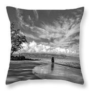 Kanahna Beach Maui Hawaii Panoramic Throw Pillow