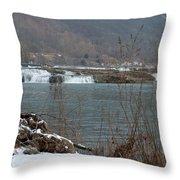 Kanawha Falls - Winter Throw Pillow