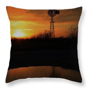 Kansas Blaze Orange Sunset With Windmill And Water Reflection Throw Pillow