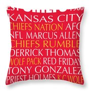 Kansas City Chiefs Throw Pillow by Jaime Friedman