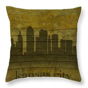 Kansas City Missouri City Skyline Silhouette Distressed On Worn Peeling Wood Throw Pillow