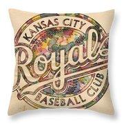 Kansas City Royals Logo Vintage Throw Pillow