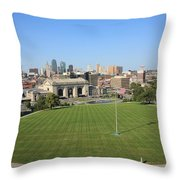 Kansas City Skyline And Park Throw Pillow