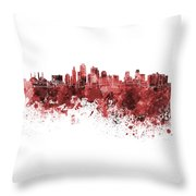 Kansas City Skyline In Red Watercolor On White Background Throw Pillow