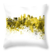 Kansas City Skyline In Yellow Watercolor On White Background Throw Pillow