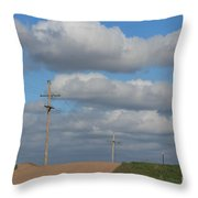 Kansas Country Road With Sky Throw Pillow