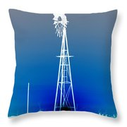 Kansas Country Windmill Inverted Negative Sunset Throw Pillow