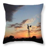 Kansas Golden Sky With A Windmill Throw Pillow