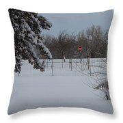 Kansas Snowy Landscape Tree's And Fence Throw Pillow