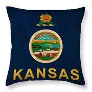 Kansas State Flag Art On Worn Canvas Throw Pillow