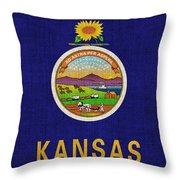 Kansas State Flag Throw Pillow by Pixel Chimp