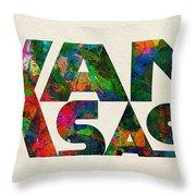 Kansas Typographic Watercolor Map Throw Pillow