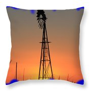 Kansas Windmill Framed Orange Silhouette In Blue Throw Pillow