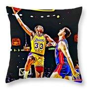 Kareem Abdul Jabbar Throw Pillow by Florian Rodarte
