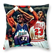 Karl Malone Vs. Michael Jordan Throw Pillow
