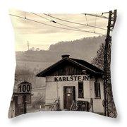 Karlstejn Railroad Shack Throw Pillow by Joan Carroll