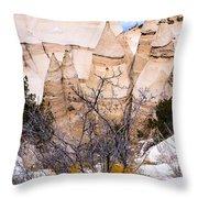 Kasha Katuwe Tent Rocks In The Winter Snow Throw Pillow