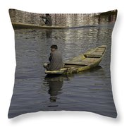 Kashmiri Men Rowing Many Small Wooden Boats In The Waters Of The Dal Lake Throw Pillow