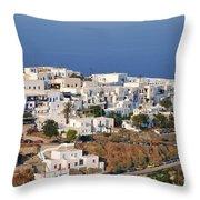 Kastro Village In Sifnos Island Throw Pillow